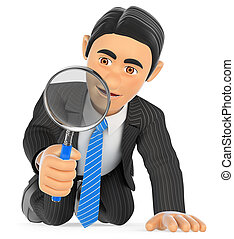 3D Businessman kneeling looking through a magnifying glass