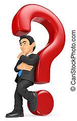 3D Businessman leaning on a question mark. Doubt concept