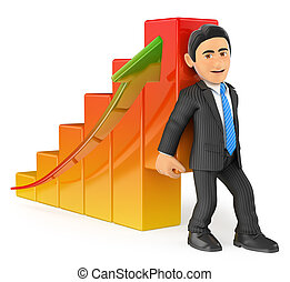 3D Businessman lifting up the economy bar graph