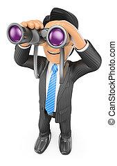3D Businessman looking through binoculars. Visionary