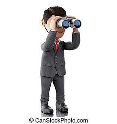 3d Businessman looking through binoculars.