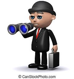 3d Businessman looking with binoculars