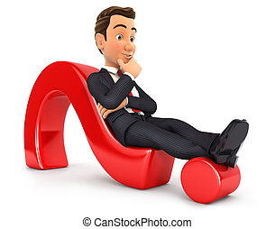 3d businessman lying on question mark