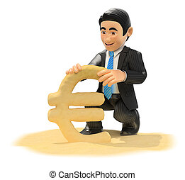 3D Businessman making euro symbol with beach sand