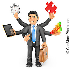 3D Businessman multitasking concept with thumb up