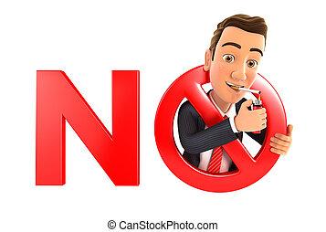 3d businessman no smoking concept