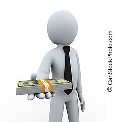 3d businessman offering money - 3d illustration of man...