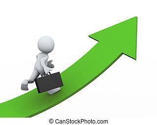 3d businessman on growing arrow