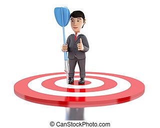 3d Businessman on target with a dart.