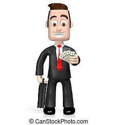 3D businessman - one dollar bills