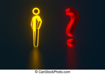 3d businessman opposite a question mark. 3d rendering