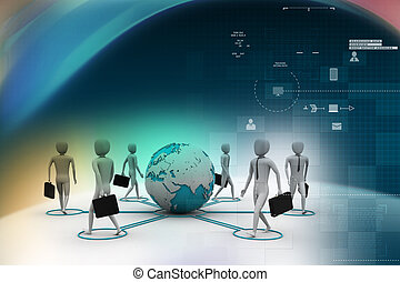 3d businessman persons with Globe Earth