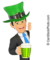 3D Businessman pointing aside with Saint Patrick day hat and a beer. Blank space