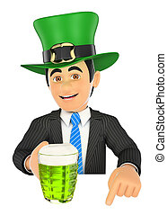 3D Businessman pointing down with Saint Patrick day hat and a beer. Blank space