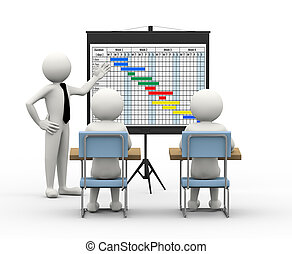 3d businessman presenting gantt cha - 3d rendering of...