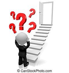 3D businessman, question marks