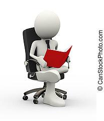3d businessman reading book on armchair