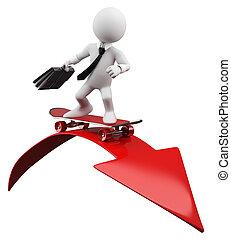 3D Businessman - Red arrow