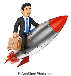 3D Businessman riding a rocket