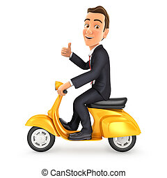 3d businessman riding scooter with thumb up