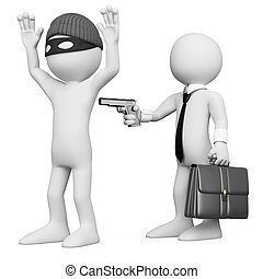 3D businessman robbing a robber. Rendered at high resolution...
