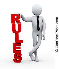 3d businessman rules word presentation