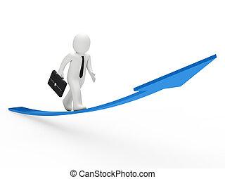 3d businessman run blue arrow