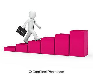 3d businessman run to success