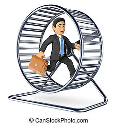3D Businessman running on a hamster wheel