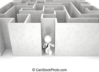 3d businessman running out of maze. Isolated. Contains clipping
