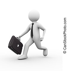 3d businessman running with briefcase