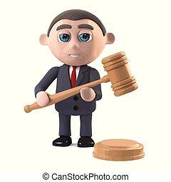 3d Businessman runs an auction