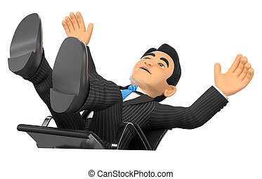 3D Businessman scared falling off his office chair