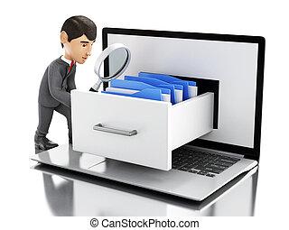 3d Businessman searching folders in a laptop.