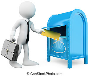 3D businessman sending documents to the cloud. Rendered at...