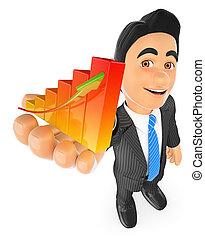 3D Businessman showing a bar graph