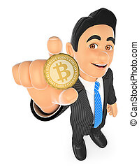 3D Businessman showing a bitcoin