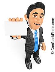 3D Businessman showing a blank card