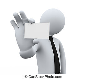 3d businessman showing blank business card