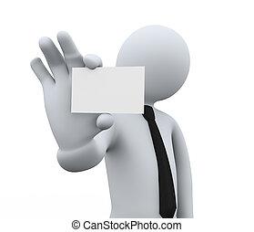 3d businessman showing blank business card