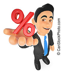 3D Businessman showing in percent symbol. Sales concept