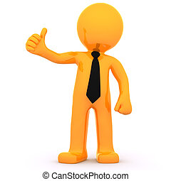 3d Businessman showing thumbs up. Isolated on white...