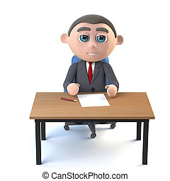 3d Businessman sits at his desk
