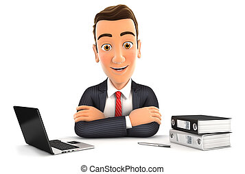 3d businessman sitting at desk with laptop and ring binder,...