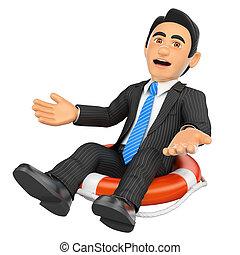 3D Businessman sitting in a lifesaver. Bankrupt company