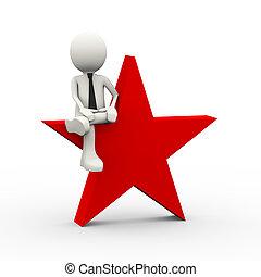 3d businessman sitting on star
