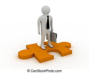 3d businessman stand on puzzle piece