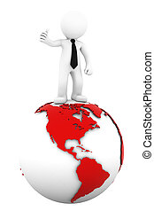 3d Businessman standing on earth gl