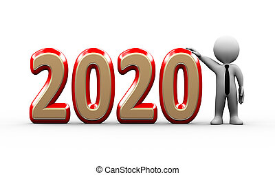 3d businessman standing with 2020 text