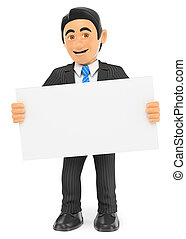 3D Businessman standing with a blank poster